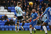 Shrewsbury Town FC forward James Collins wins the ball during the Sky Bet League 1 match between Peterborough United and Shrewsbury Town at the ABAX Stadium, Peterborough, England on 12 December 2015. Photo by Aaron Lupton.