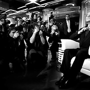 "Silvio Berlusconi, leader of the center right coalition poses for photographers prior the beginning of the politics italian debate show ""Porta a Porta"" at Rai's broadcast studios."