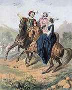 Falconry: artist's impression of late 16th century party out hawking. Woman, with falcon is riding side-saddle. Mid-19th century chromolithograph.