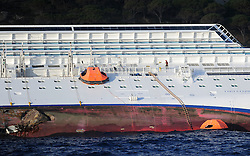 "A rescue worker on  the Wrecked Cruise Ship ""Costa Concordia"" in Giglio, Italy, Photo By Nick Cornish/ I-Images"