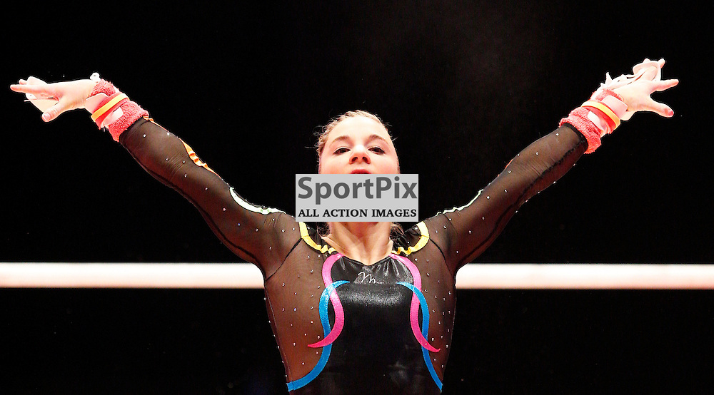 2015 Artistic Gymnastics World Championships being held in Glasgow from 23rd October to 1st November 2015...Kelly Simm (Great Britain) competing in the Uneven Bars competition...(c) STEPHEN LAWSON | SportPix.org.uk