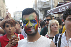 LGBT activists take part in the pride in the city's Taksim neighbourhood after Istanbul's local government announced the parade was banned. Istanbul, Turkey July 1, 2018. Photo by Depo Photos/ABACAPRESS.COM
