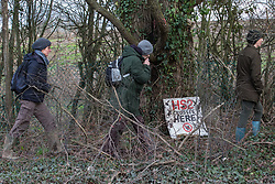 Harefield, UK. 17 January, 2020. Activists from Stop HS2 and Extinction Rebellion take part in a tour of sites where HS2 has destroyed and is intending to destroy trees at the beginning of a three-day 'Stand for the Trees' protest in the Colne Valley. The event has been timed to coincide with tree felling work by HS2 adjacent to the site of Stop HS2's Colne Valley wildlife protection camp. 108 ancient woodlands are set to be destroyed by the high-speed rail link.