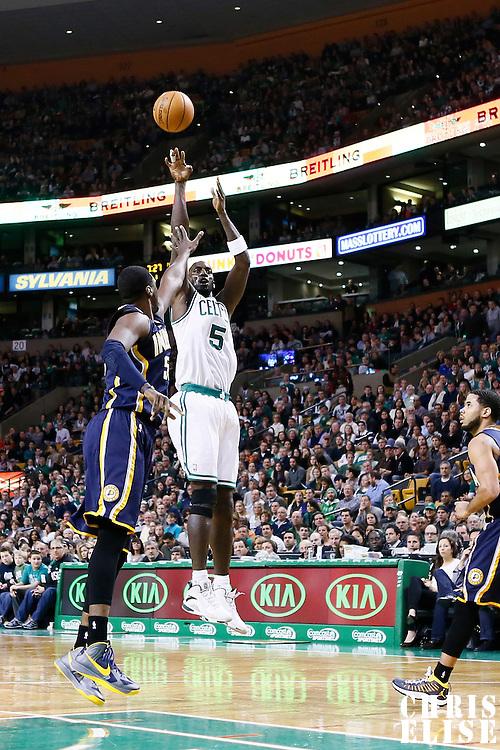 04 January 2013:Boston Celtics power forward Kevin Garnett (5) takes a jumpshot over Indiana Pacers center Roy Hibbert (55)  during the Boston Celtics 94-75 victory over the Indiana Pacers at the TD Garden, Boston, Massachusetts, USA.