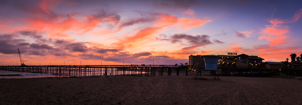 Ventura Beach pier at sunset panorama available for digital download.