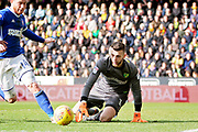 Norwich City goalkeeper Angus Gunn (1) saves from Ipswich Town forward Joe Garner (14) during the EFL Sky Bet Championship match between Norwich City and Ipswich Town at Carrow Road, Norwich, England on 18 February 2018. Picture by Nigel Cole.