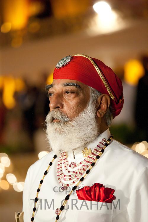 Shriji Arvind Singh Mewar of Udaipur, 76th Custodian of the House of Mewar, at Holi Festival at City Palace, Rajasthan, India