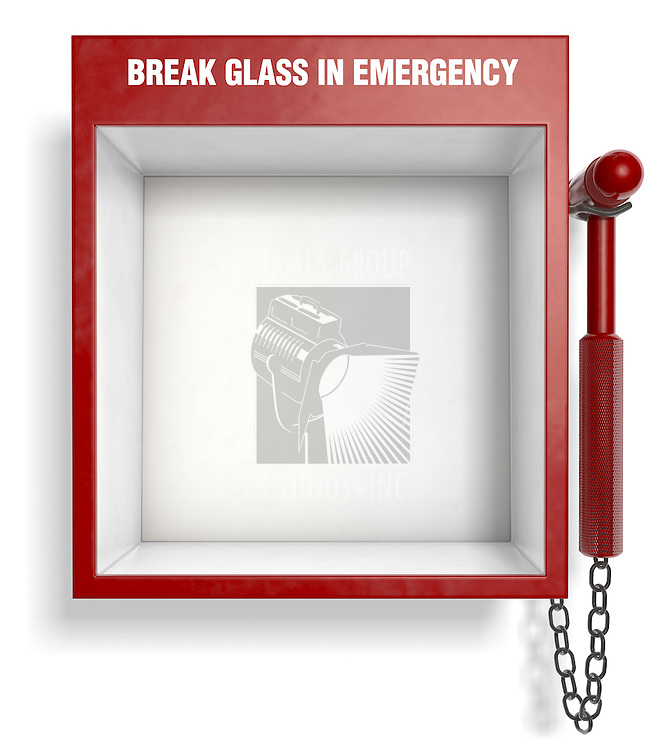 An empty fire extinguisher emergency box. Easily place your own objects inside!