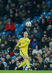 MANCHESTER, ENGLAND - Tuesday, March 15, 2016: Manchester City's goalkeeper Joe Hart in action against FC Dynamo Kyiv during the UEFA Champions League Round of 16 2nd Leg match at the City of Manchester Stadium. (Pic by David Rawcliffe/Propaganda)