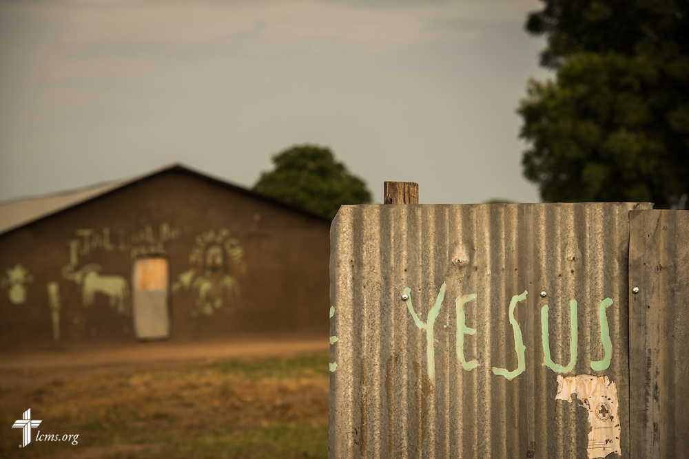 Yesus (Jesus) is painted on a tin gate on Wednesday, Sept. 23, 2015, at the Leitchour Refugee Camp outside Gambela, Ethiopia. LCMS Communications/Erik M. Lunsford