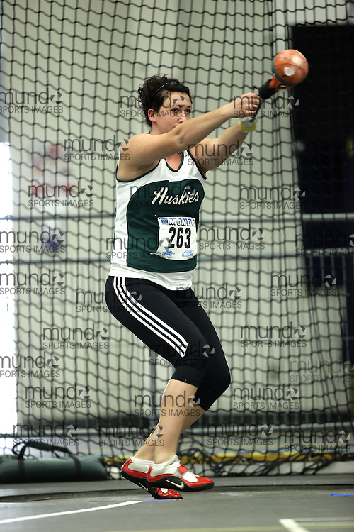 (Windsor, Ontario---11 March 2010) Taryn Suttie of University of Saskatchewan competes in the  competes in the weight throw at the 2010 Canadian Interuniversity Sport Track and Field Championships at the St. Denis Center. Photograph copyright Geoff Robins/Mundo Sport Images. www.mundosportimages.com