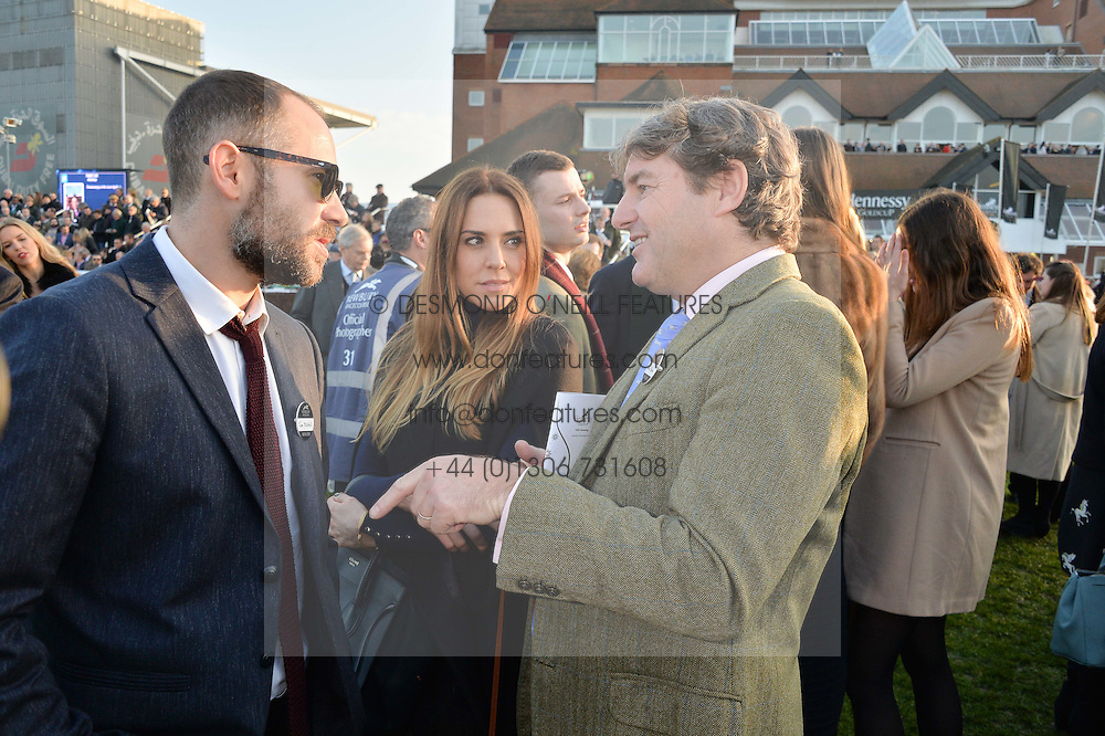 Left to right, JOE MARSHALL, MEL C and CHARLIE BROOKS at the 2014 Hennessy Gold Cup at Newbury Racecourse, Newbury, Berkshire on 29th November 2014.  The Gold Cup was won by Many Clouds ridden by Leighton Aspell.