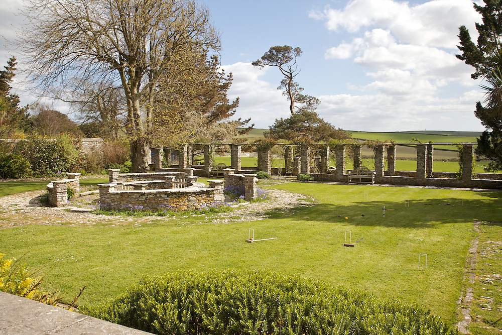 The main garden looking towards the fields, Pickwell Manor, Georgeham, North Devon, UK. <br /> CREDIT: Vanessa Berberian for The Wall Street Journal<br /> HOUSESHARE