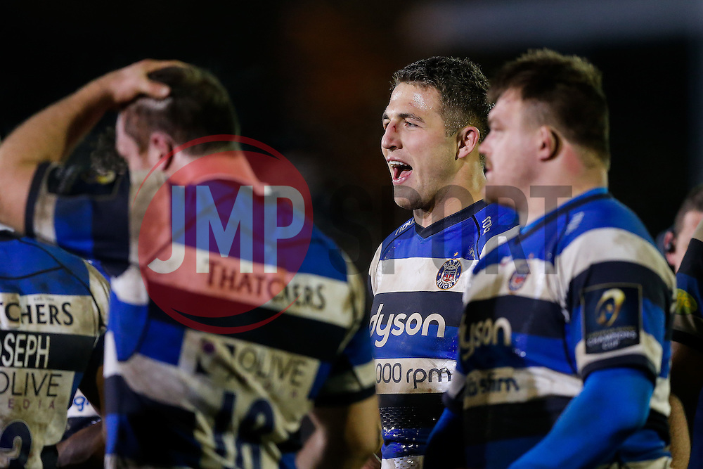 Bath Inside Centre Sam Burgess, making his first start for the Club, shouts in a huddle after his side win the match with a bonus point - Photo mandatory by-line: Rogan Thomson/JMP - 07966 386802 - 12/12/2014 - SPORT - RUGBY UNION - Bath, England - The Recreation Ground - Bath Rugby v Montpellier Herault Rugby - European Rugby Champions Cup Pool 4.