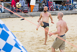 © Licensed to London News Pictures.01/07/2017. Brighton, UK. Brighton and Hove Albion Football team's Captain BRUNO SALTOR GRAU, also known as BRUNO plays a game of football on the beach in Brighton and Hove with some friends. Photo credit: Hugo Michiels/LNP
