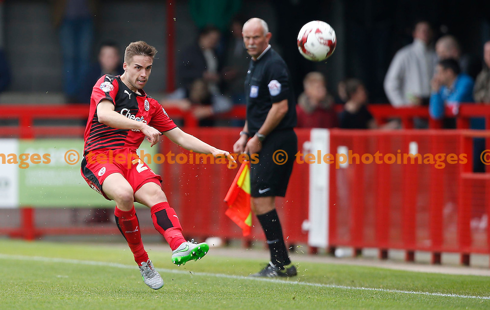 Crawley&rsquo;s Mitch Hancox plays the ball up the line during the Sky Bet League 2 match between Crawley Town and Luton Town at the Checkatrade.com Stadium in Crawley. October 17, 2015.<br /> James Boardman / Telephoto Images<br /> +44 7967 642437