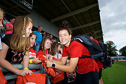 NEWPORT, WALES - Thursday, August 30, 2018: Wales' Angharad James signs autographs for young supporters after a training session at Rodney Parade ahead of the final FIFA Women's World Cup 2019 Qualifying Round Group 1 match against England. (Pic by David Rawcliffe/Propaganda)