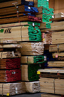 Large quantity of wooden plywood stored in warehouse