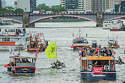 A Rib from the in campaign shepherds Nigel Farage on teh Edwardian - Nigel Farage, the leader of Ukip, joins a flotilla of fishing trawlers up the Thames to Parliament to call for the UK's withdrawal from the EU, in a protest timed to coincide with prime minister's questions.