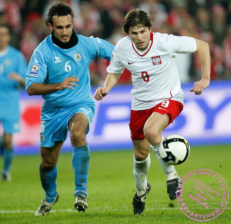 FIFA World Cup European Qualifying Group 3.Poland v San Marino.Saturday 1st of April 2009.Alesandro Della Valle /San Marino/ i Rafal Boguski /Pol/.Photo by : Piotr Hawalej / WROFOTO