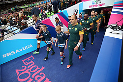 Fourie du Preez (Captain) of South Africa leads out his team along side Samu Manoa (c) of USA<br /> Rugby World Cup England 2015 - South Africa v USA - 07/10/2015 - Queen Elizabeth Olympic Stadium - London<br /> Mandatory Credit : Andrew Fosker / Seconds Left <br /> {22062000}