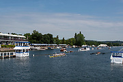 """Henley on Thames, United Kingdom, 4th July 2018, Wednesday, """"General View"""",  left, """"Finish Line Box"""" first day of the annual,  """"Henley Royal Regatta"""", Henley Reach, River Thames, Thames Valley, England, © Peter SPURRIER,"""
