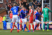 GOAL Niall Canavan celebrates scoring 1-0 during the EFL Sky Bet League 1 match between Rochdale and Charlton Athletic at Spotland, Rochdale, England on 18 February 2017. Photo by Daniel Youngs.