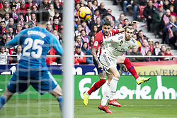 February 9, 2019 - Madrid, Spain - Nikola Kalinic of Atletico de Madrid and Gareth Bale and Thibaut Courtois of Real Madrid during La Liga match between Atletico de Madrid and Real Madrid at Wanda Metropolitano in Madrid Spain. February 09, 2018. (Credit Image: © Peter Sabok/NurPhoto via ZUMA Press)