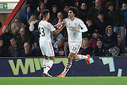 Marouane Fellaini of Manchester United celebrates his equalising goal during  the Barclays Premier League match between Bournemouth and Manchester United at the Goldsands Stadium, Bournemouth, England on 12 December 2015. Photo by Phil Duncan.