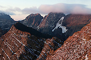 Morning glow on Colombia Point, Kit Carson Peak, Challenger Point, Sangre De Cristo Range, Colorado.