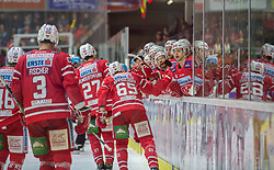 08.03.2020, Stadthalle, Klagenfurt, AUT, EBEL, EC KAC vs EHC Liwest Black Wings Linz, Viertelfinale, 3. Spiel, im Bild Johannes Bischofberger (EC KAC, #46), David FISCHER (EC KAC, #3), Michael KERNBERGER (EC KAC, #65), Thomas HUNDERTPFUND (EC KAC, #27), Thomas KOCH (EC KAC, #18) // during the Erste Bank Eishockey League 3rd quarterfinal match between EC KAC and EHC Liwest Black Wings Linz at the Stadthalle in Klagenfurt, Austria on 2020/03/08. EXPA Pictures © 2020, PhotoCredit: EXPA/ Gert Steinthaler