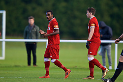 BLACKBURN, ENGLAND - Saturday, January 6, 2018: Liverpool's Rafael Camacho celebrates the first goal during an Under-18 FA Premier League match between Blackburn Rovers FC and Liverpool FC at Brockhall Village Training Ground. (Pic by David Rawcliffe/Propaganda)