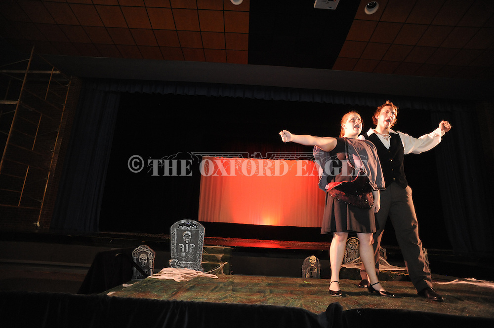 "Oxford High School students Abby Wilson (left) and Martin Bodenheimer rehearse for the production of ""Scream"" in Oxford, Miss. on Wednesday, October 26, 2011."