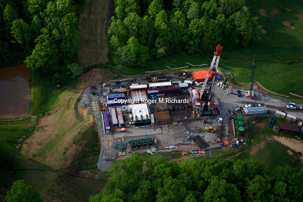 Aerial view of a drilling rig used for fracking (hydraulic fracturing) operations, Doddridge County, West Virginia.