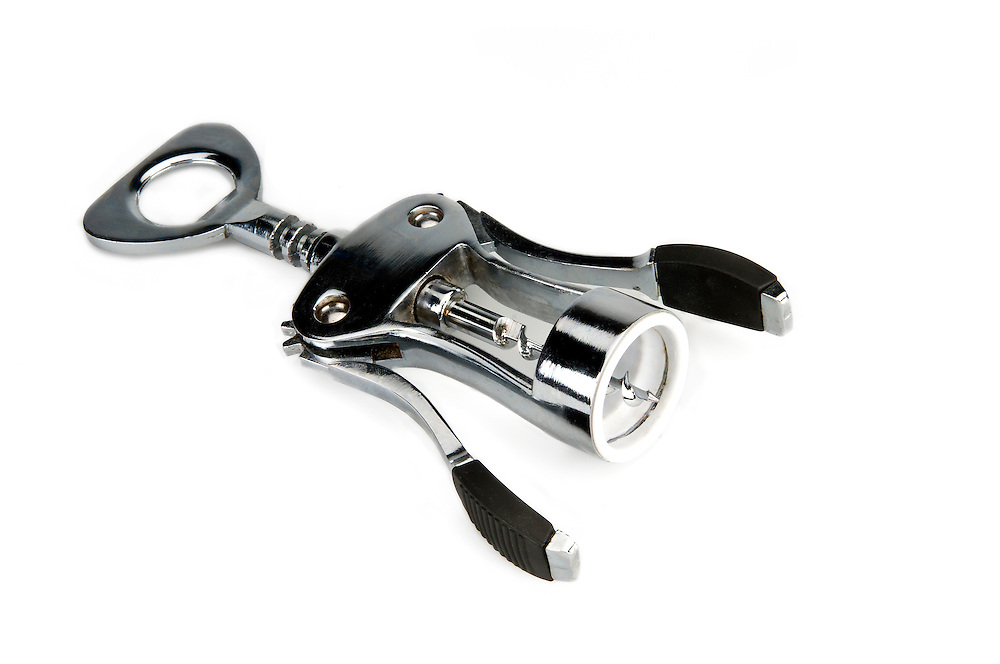 Isolated image of a corkscrew bottle opener.