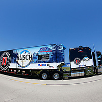 The hauler for Kevin Harvick (4) drives through the infield during hauler parking for the Overton's 400 at Chicagoland Speedway in Joliet, Illinois .