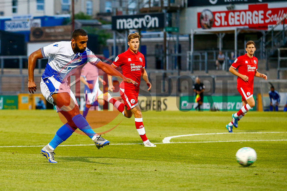 Stefan Payne of Bristol Rovers has a shot on goal  - Mandatory by-line: Ryan Hiscott/JMP - 14/08/2018 - FOOTBALL - Memorial Stadium - Bristol, England - Bristol Rovers v Crawley Town - Carabao Cup