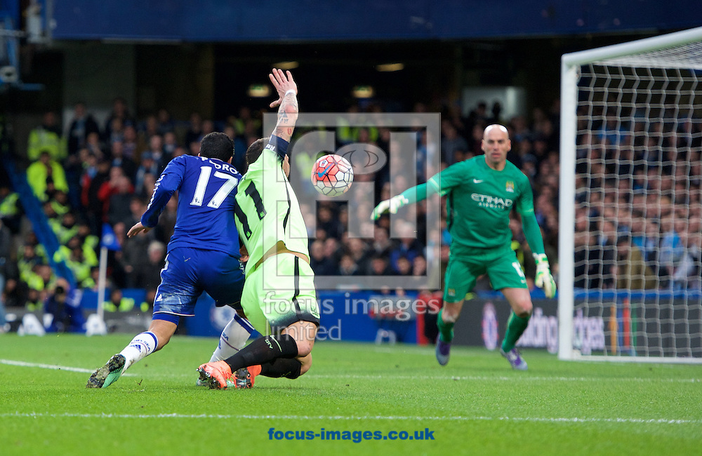Pedro of Chelsea almost gets past Aleksandar Kolarov of Manchester City during the FA Cup match at Stamford Bridge, London<br /> Picture by Alan Stanford/Focus Images Ltd +44 7915 056117<br /> 21/02/2016