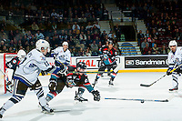 KELOWNA, CANADA - OCTOBER 26: Cal Foote #25 of the Kelowna Rockets blocks a pass by Matthew Phillips #11 of the Victoria Royals on October 26, 2016 at Prospera Place in Kelowna, British Columbia, Canada.  (Photo by Marissa Baecker/Shoot the Breeze)  *** Local Caption ***