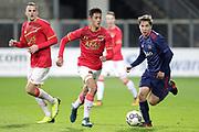 (L-R) Tijani Reijnders of AZ Alkmaar U23, Carel Eiting of Ajax U23