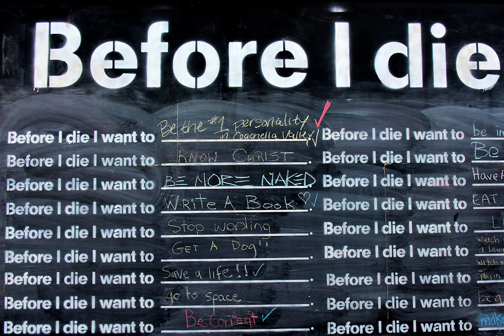 Before I Die Blackboard in Palm Desert, California<br />