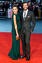 © Licensed to London News Pictures. 16/10/2016. London, UK. Photo credit: Pregnant ELIZABETH CHAMBERS and husband ARMIE HAMMER attend the film premiere of Free Fire showing at The London Film Festival. Ray Tang/LNP