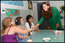 The Duchess of Cambridge talks to (left to right) Ashleigh Keene, Nicole Keene and Deizharn Hamon as she visits the Rainbow Place Children's Hospice in Hamilton, New Zealand on day 6 of the Royal Tour of New Zealand and Australia, Saturday, 12th April 2014. Picture by  i-Images