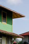 Wooden house from early decades of 20th century. Colon City, Colon province, Panama, Central America.