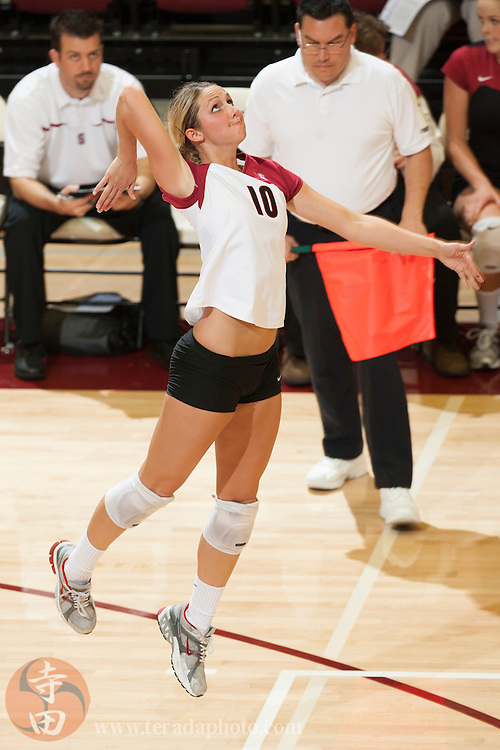 November 25, 2006; Stanford, CA, USA; Stanford Cardinal outside hitter Kristin Richards (10) during the game against the Washington State Cougars at Maples Pavilion. The Cardinal defeated the Cougars 30-27, 30-23, 30-18.