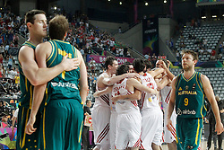 07.09.2014, Palau Sant Jordi, Barcelona, ESP, FIBA WM, Australien vs T&uuml;rkei, Achtelfinale, im Bild Turkey's players celebrate the victory in presence of Australia's Cameron Bairstow, Joe Ingles and Matthew Dellavedova // during FIBA Basketball World Cup Spain 2014 round of 16 match between Australia and Turkey at the Palau Sant Jordi in Barcelona, Spain on 2014/09/07. EXPA Pictures &copy; 2014, PhotoCredit: EXPA/ Alterphotos/ Acero<br /> <br /> *****ATTENTION - OUT of ESP, SUI*****