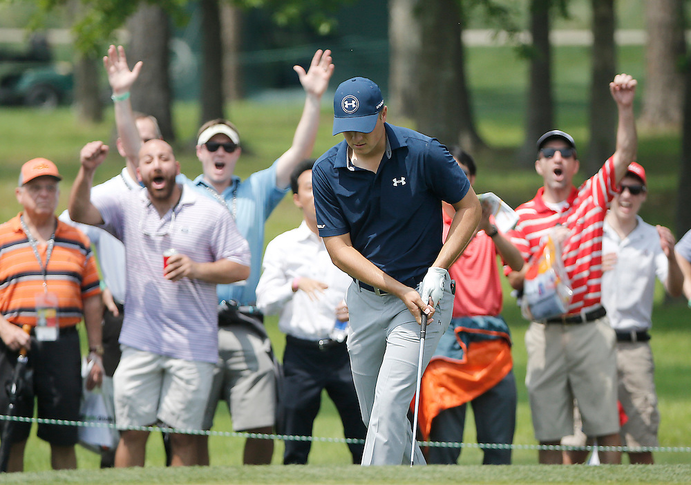 Fans applaud Jordan Spieth after he birdied the second hole with a chip shot in the Shell Houston Open-Round 1 at the Golf Club of Houston on Wednesday, March 31, 2016 in Humble, TX. (Photo: Thomas B. Shea/For the Chronicle)