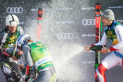 ODERMATT Marco of Switzerland, KRISTOFFERSEN Henrik of Norway and WINDINGSTAD Rasmus of Norway celebrate during trophy ceremony after the Audi FIS Alpine Ski World Cup Men's Giant Slalom 58th Vitranc Cup 2019 on March 9, 2019 in Podkoren, Kranjska Gora, Slovenia. Photo by Peter Podobnik / Sportida