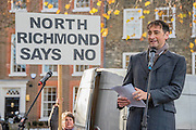 Alistair McGowan - A rally at Richmond - led by Zac Goldsmith and attended by Gyles Brandreth, Alistair Mc Gowan and local protest groups - is followed by various protests at the airport itself led by Rising Tide and other protest groups.