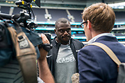 Eve Obada (DE, Carolina Panthers) interviews at the NFL Academy, Stadium Showcase during the NFL Media Day held at Tottenham Hotspur Stadium, London, United Kingdom on 2 July 2019.